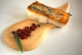 körte fehér bab püré babpüré pirított szalonna sült fogas filé hal fogasfilé
