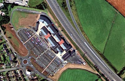 aerial view of Gretna Factory Outlet - great!
