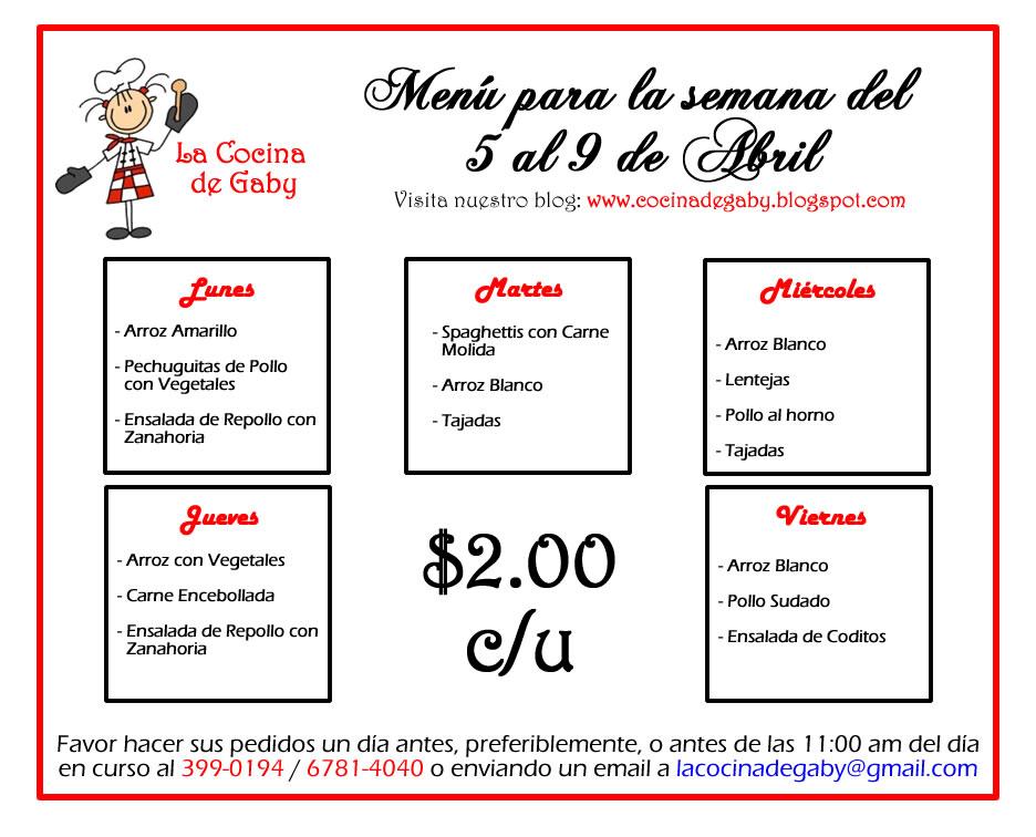 La cocina de gaby menu del 5 al 9 de abril - La cocina del 9 ...