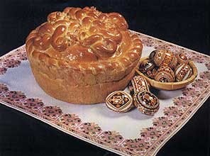Ukrainian Paska, with some Ukrainian Pysanky (Easter Eggs)