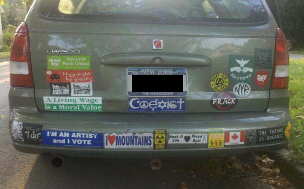 My coexist bumper sticker can beat up your coexist bumper sticker