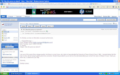 Figure 2: U.T. School of Law's reply to me, saying they have no information on Lyne (Click to Enlarge)