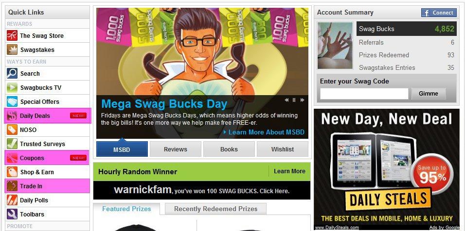 Daily deals toolbar