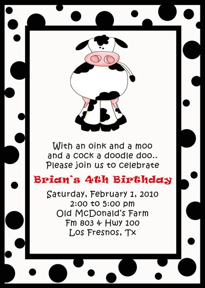 kids theme party s cow birthday invitation