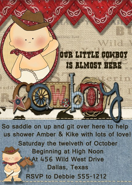 baby shower invitations western baby boy baby shower invitation