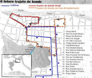 Trajeto novo e atual do sistema de bondes de Santos e percurso atual de trólebus