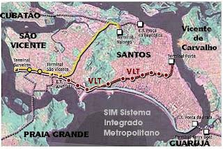 Arte sobre mapa publicado em A Tribuna de Santos