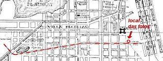 Detalhe do Mapa com a linha de trens - arquivo