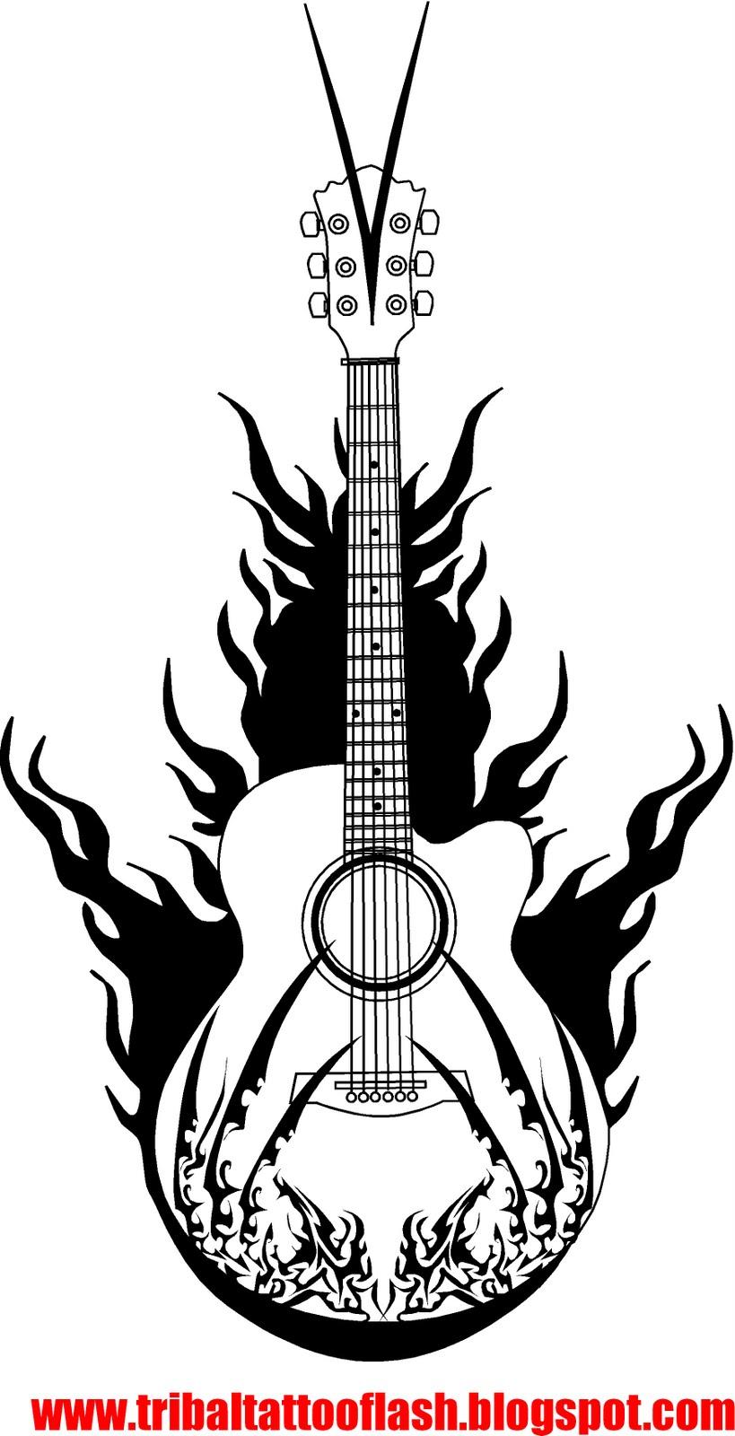 Тату гитара на руке эскизы