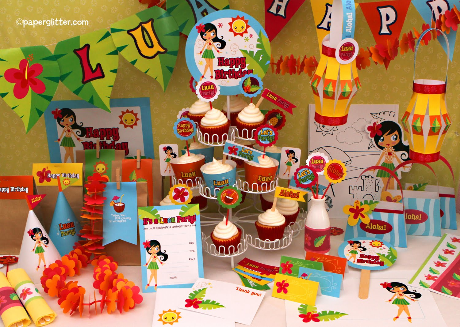 Party printable giveaway and free cupcake toppers skip for Luau decorations