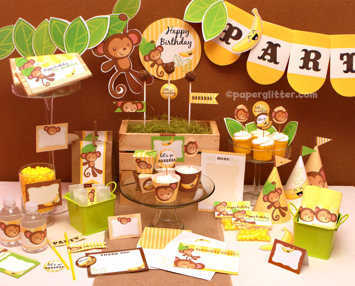 Monkey party kit with changeable text feature for Monkey decorations