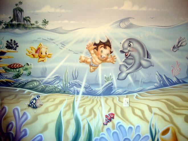 Fernando Pow Pintura em Quarto de Bebê e Criança - Mergulhador.