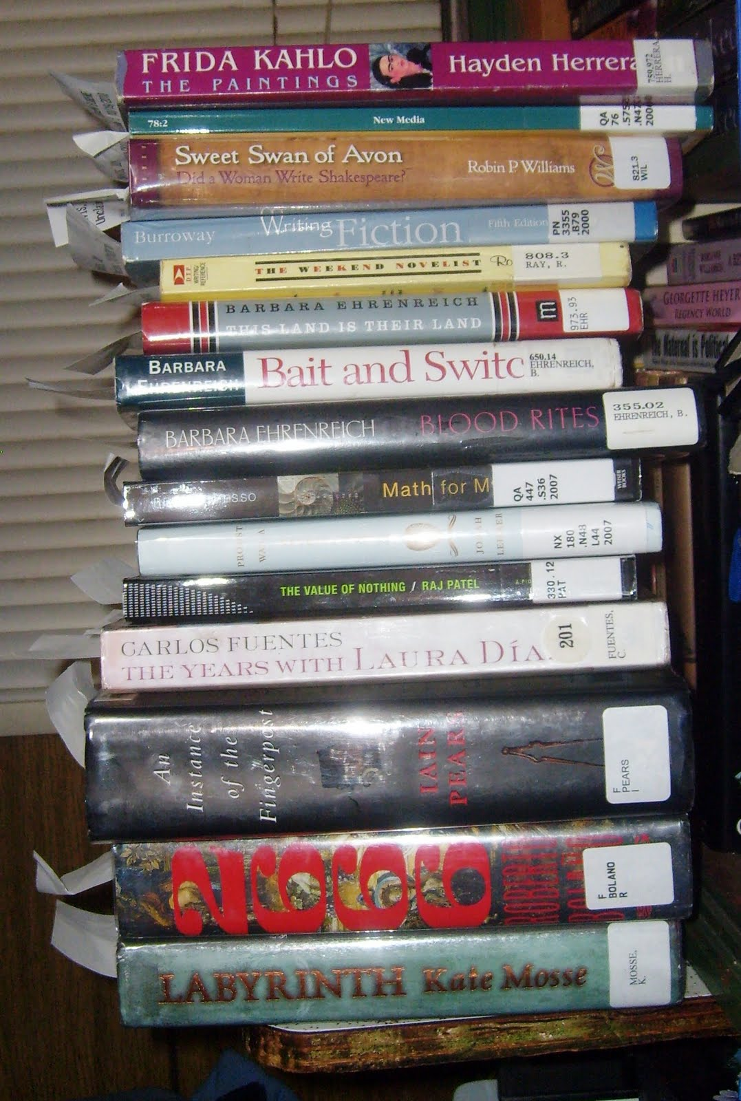 This Is A Picture Of The Stack Of Books Ed Brought Home From The Library On  Thursday They Were All For Me Even The Two On His Card