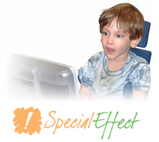 Special Effect logo, beneath an image of a young boy in a wheelchair playing an accessible game.
