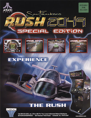 Promotional Flyer for Atari's 1999 game San Francisco Rush 2049. Special Edition poster pictured from 2003.