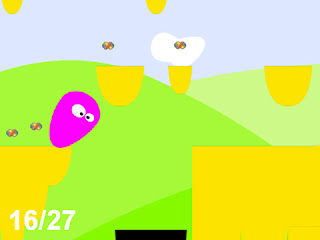 Image of one-switch game Wobble Bob. A cartoon platform game featuring a wobbling purple blob with googly eyes.