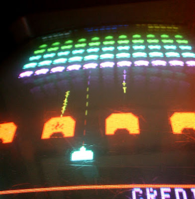 Image of Space Invaders in Colour - on a 1979 Taito Cocktail machine.