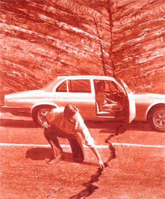 'Doubting Thomas' by Mark Tansey - Sepia painting of a man examining a crack in the road that his Jaguar car straddles, door open with female companion and driver looking on concerned.
