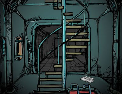 The Fog Fall - cartoon image of the stariway between three floors of an underground nuclear bunker.