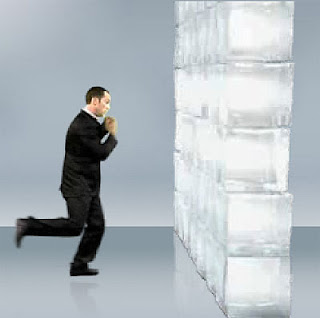 Image of a man running towards a wall of ice, from 'Pepsi NexGame'