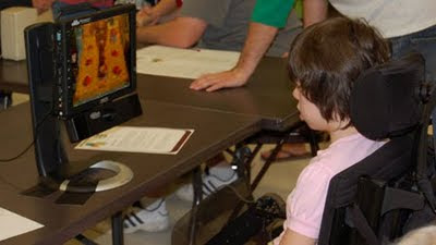 Image of Whack-a-Monty-Mole being played via Eye-Control.