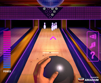 Image of a Disco themed Bowling Alley.