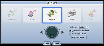 Image of Songsmith's musical style selection screen. Reggae highlighted with Pop Ballad, R&B, Rock and Salsa also available. A Style Mood drop down bar reads 'Light'. A Get More Styles button is also shown.