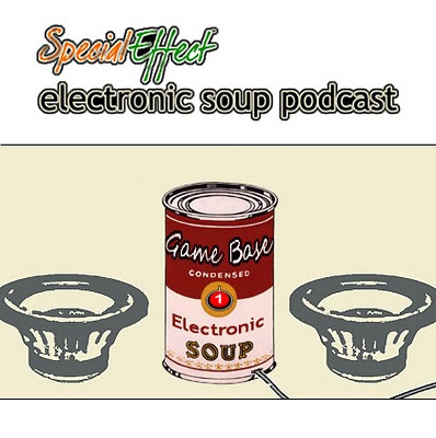 Image of bold black text that reads Special Effect Electronic Soup Podcast. A can labelled 'Game Base condensed electronic soup' is plugged into the wall off screen surrounded by two large sub-woofer speakers.