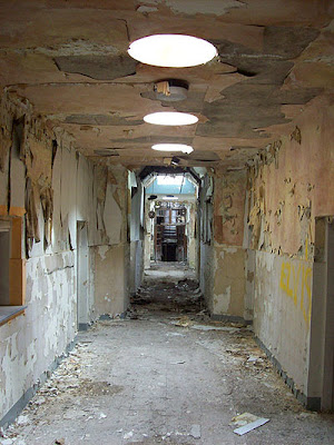 Denbigh Asylum. Image of a corridor with severely pealing paint. A single row of sky-lights illuminate the scene.