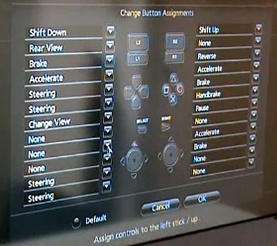 Image of Gran Turismo 5 Prologue's main controller reconfiguration screen. Everything looks like it can be remapped pretty much where ever you want it. Very nice!