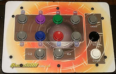 Closer view of the Quasicon Axis-3 accessible arcade stick with analogue controls.