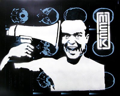 Image of a happily deranged person aiming a megaphone directly into their ear. Monochrome stencil over a brain scan film, by Australian artist, Meek.