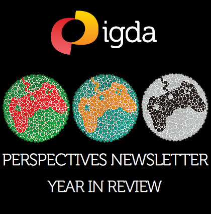 Mock-up image of three colour-blind tests, but with joypads within rather than numbers. The surrounding text reads, igda - perspectives newsletter - year in review.