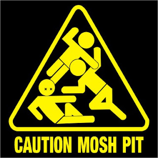 Image of a mock-up warning sign, that reads 'Warning Mosh Pit' with three people tumbling on top of one another.