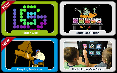 Four pane image of Inclusive Technology on-line activities and their one-touch touchscreen.
