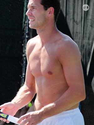 Michael Llodra Shirtless at Miami Open 2010