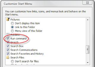start menu Get/Add the RUN command in Windows Vista Start Menu
