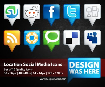 Location social bookmarking icon set
