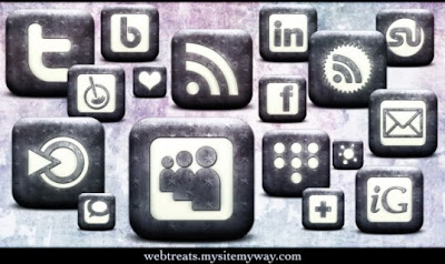 High Res Whitewashed Star Patterned Social Bookmarking Icons
