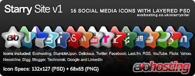 Starry site social icon set
