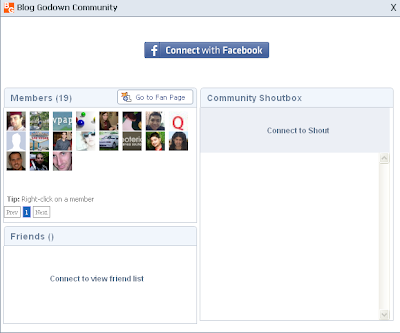 Facebook Community feature of wibiya