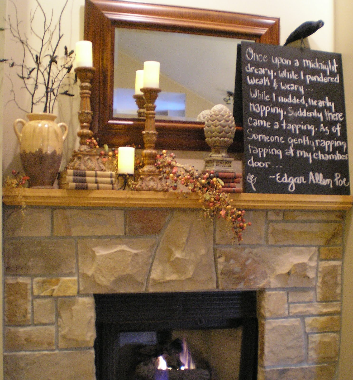 honey i 39 m home fireplace mantel fun for halloween