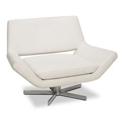 White Vinyl Swivel Guest Chair by Avenue 6