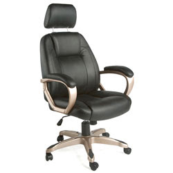 Comfort Seating Black Leather Executive Chair with Headrest