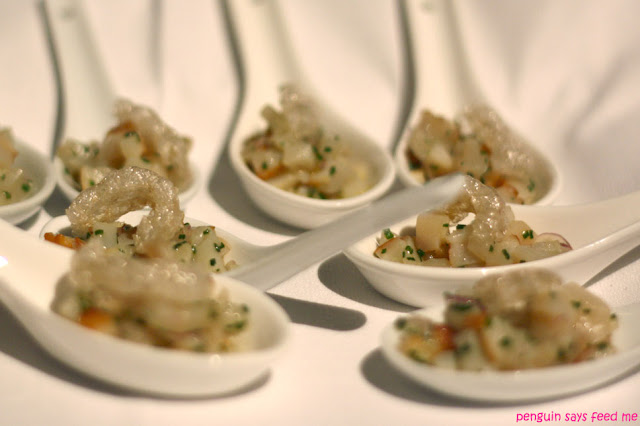 Grilled scallop tartare, olive oil, lime juice, washed red onion and ...