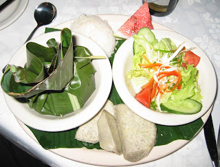 Dinner: Seafood wrapped in banana leaf