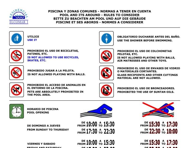 Elcomar i cartel normas for Normas de piscina