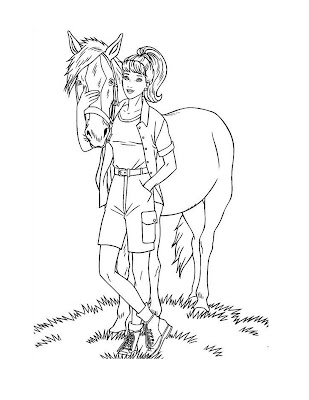 barbie with dog coloring pages