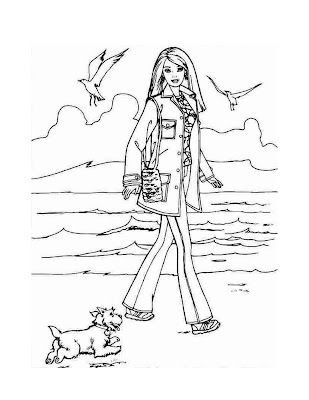 coloring pages for girls barbie. This coloring page has Barbie