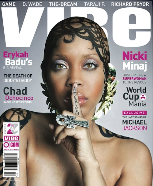 Erykah's covers shows her with a bald head that's tattooed down her